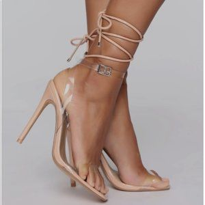 NWT Fashion Nova Nude Strappy Lace Up Heels